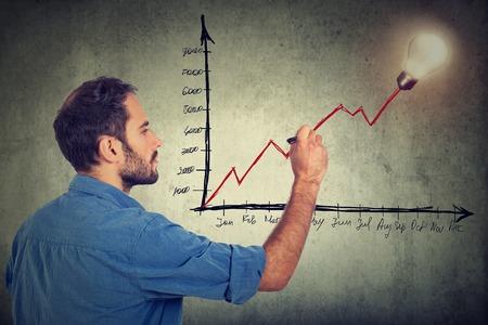 idea bulb: Businessman writing successful growth plan project idea Stock Photo