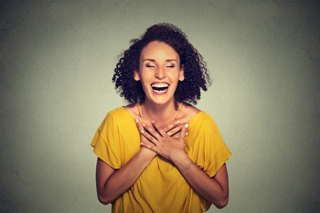 women: Young woman laughing Stock Photo