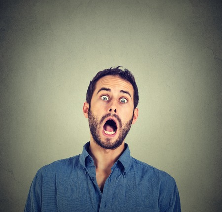 scared face: shocked scared man Stock Photo