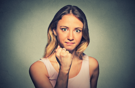 pissed off: Young beautiful frustrated angry woman.