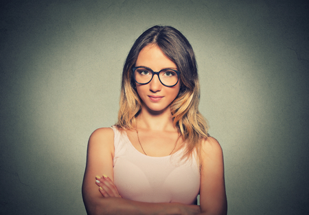 woman  glasses: Attractive young woman in glasses