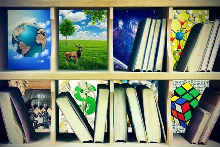 topics: Magic bookshelf with books on different topics Stock Photo