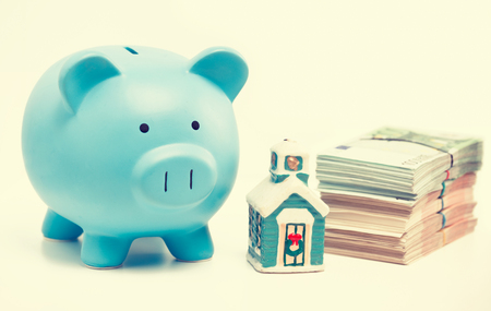 housing industry: Real estate sale savings, loans market. Housing industry residential mortgage plan strategy. Piggy bank home and pile of euro cash isolated on white background. Homeowner finance credit concept