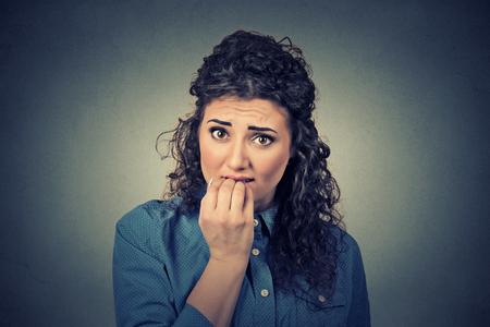 Closeup portrait of worried woman Stock Photo