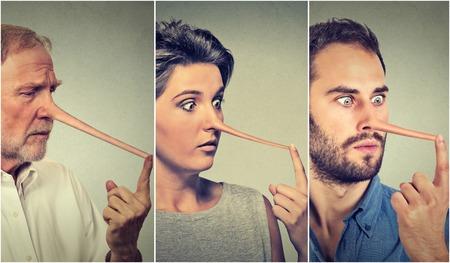 Menschen mit langer Nase auf grauen Wand Hintergrund. Lügner Konzept. Menschliches Gesicht Ausdrücke, Emotionen, Gefühle.