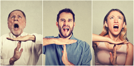 too many: Group of people showing time out hand gesture, frustrated screaming to stop isolated on grey wall background. Too many things to do. Human emotions face expression reaction