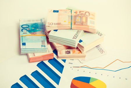 surplus: Company annual financial report balance sheet statement with documents graphs. Stock market, tax, education concept. Charts papers with stack of euro banknotes bills