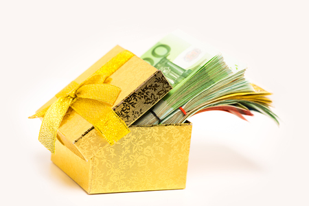 personal contribution: Gift box for savings full of euro banknotes money cash isolated on white background. Financial success debt free concept.