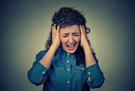 hysterical: Woman screaming Stock Photo