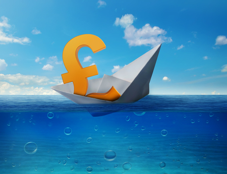bearish: Pound sinking in the sea as symbol of future UK economy depression recession and economic downturns. Results of brexit polls. UK leaving EU concept. Bearish market Stock Photo