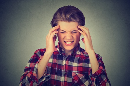 ocd: Stressed man upset frustrated. Negative human emotions face expression feelings Stock Photo