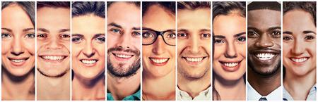 웃는 얼굴. 사람들의 행복 그룹 스톡 콘텐츠