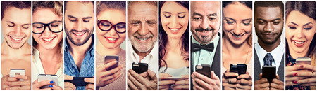 landline: Happy people using mobile smart phone Stock Photo