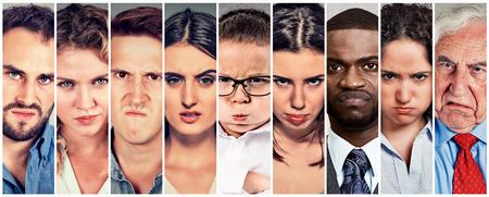 personas enojadas: Angry gruñón personas hombres y mujeres