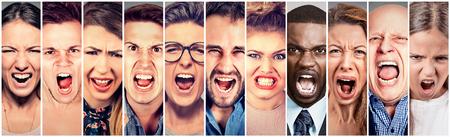 niños de diferentes razas: Las personas enojadas gritando. Grupo de mujeres de los hombres frustrado gritando