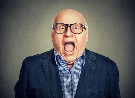 Closeup portrait surprised senior man