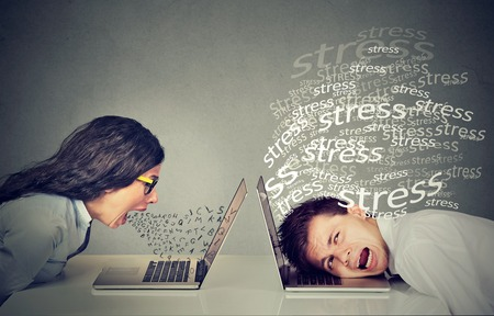 Side profile angry woman screaming at laptop sitting next to a stressed man. Negative emotion face expression reaction Stock Photo