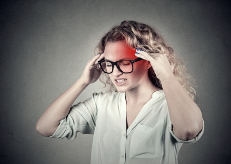 ocd: woman with headache, migraine, stress, insomnia, hangover with red alert accent