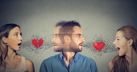 threesome: New relationship concept. Love triangle. Young man falls in love with another woman
