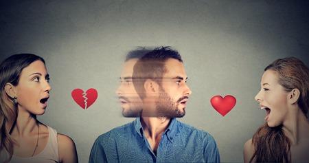 새로운 관계 개념입니다. 삼각 관계. 젊은 남자가 다른 여자와 사랑에 빠진다