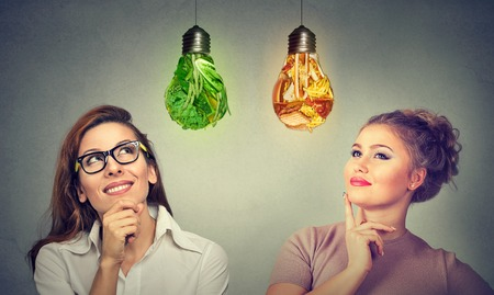 Two women thinking about diet one looking at green vegetables light bulb another at junk food lightbulb. Nutrition differences concept. Weight loss and wellness idea