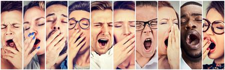 Grupo multiétnico de personas mujeres y hombres adormecidos con la boca bostezando ojos bien abiertos cerrado con aire aburrido. La falta de sueño concepto de la pereza