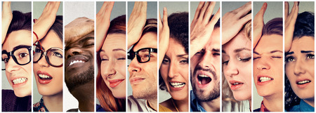 duh: Multiethnic group of desperate regretful people men women slapping hand on head having duh moment. Human face expressions  Stock Photo