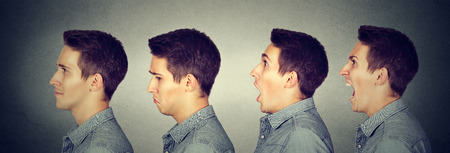the borderline: Mood swing. Man with different emotions face expressions