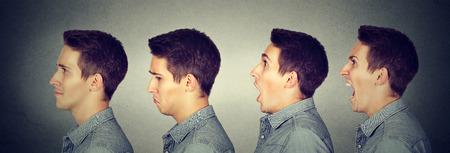Stimmungsumschwung. Der Mann mit verschiedenen Emotionen Gesichtsausdrücke Standard-Bild - 66561309