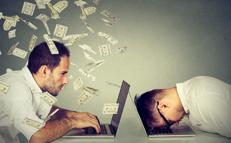 business money: Corporate employee income compensation economy concept. Stressed desperate burnout man resting sleeping on laptop sitting next to professional man under money dollar rain. Pay labor salary difference Stock Photo