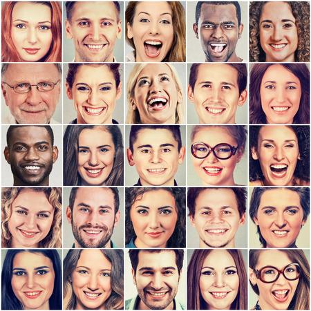 웃는 얼굴. 다민족 명 남성과 여성의 행복 그룹 스톡 콘텐츠