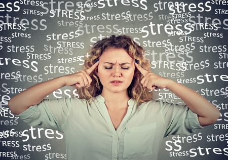 sad young woman with worried stressed face expression Stock Photo - 69164788