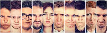 pissed off: Multiethnic group of young angry pissed off people men and women  Stock Photo
