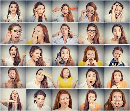 さまざまな感情を表現する若い女性のコラージュ 写真素材