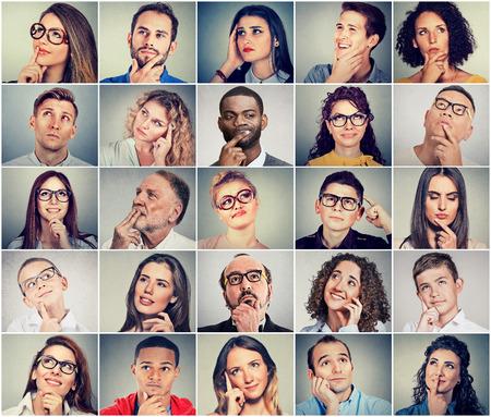 Multiethnic Gruppe von nachdenklichen Männern und Frauen. Volks Gedanken Konzept Standard-Bild - 70836452