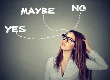 thinking woman: Thinking undecided woman has doubts   Stock Photo