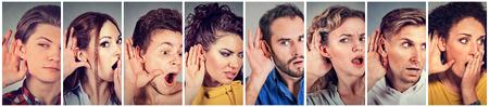 personas escuchando: Grupo multiétnico de personas hombres y mujeres jóvenes espionaje de escucha. Las emociones humanas se enfrentan reacción expresiones Foto de archivo