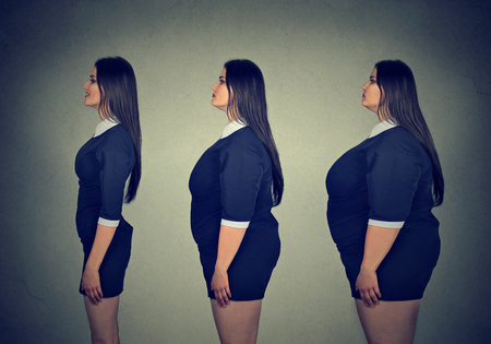 Transformation. Young fat woman becoming slim fit girl. Diet choice right nutrition healthy lifestyle concept Standard-Bild
