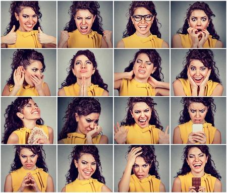 Collage de una mujer joven que expresa diferentes emociones y sentimientos