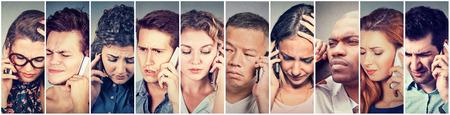 Multikulturelle Gruppe von Menschen traurig Männer und Frauen sprechen über Handy