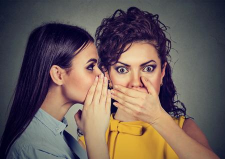 Erstaunt Frau schockiert Klatsch im Ohr ein Geheimnis hören Standard-Bild - 75004189