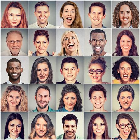 caras felices: Sonriente caras. Feliz grupo de personas multiétnicas hombres y mujeres positivas