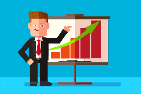 Corporate man presenting his business report through infographics. Vector flat design illustration. Horizontal layout