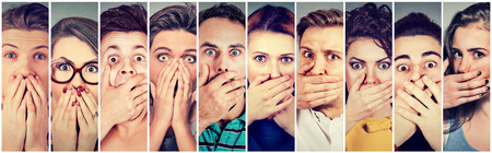 freak out: Group of shocked people men and women covering their mouth with hands Stock Photo