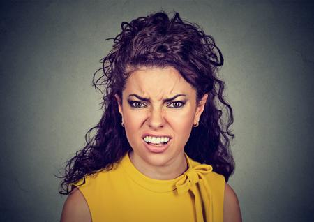wrathful: Closeup of an angry furious woman  Stock Photo