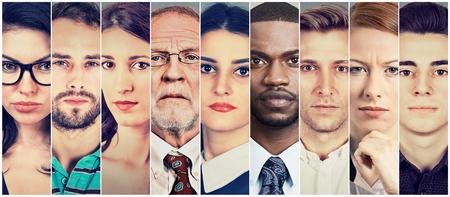 Gruppo multietnico di persone seria