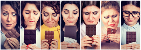 Women tired of diet restrictions craving sweets chocolate. Human face expression emotion. Feelings of guilt photo