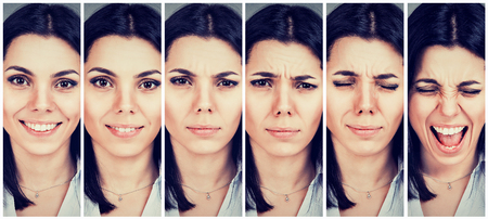 Young woman changing mood from being happy to getting upset and angry Archivio Fotografico