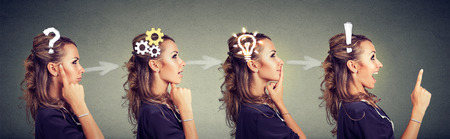 Emotional intelligence. Side view sequence of a woman thoughtful, thinking, finding solution with gear mechanism, question, exclamation, lightbulb symbols. Human face expression 스톡 콘텐츠