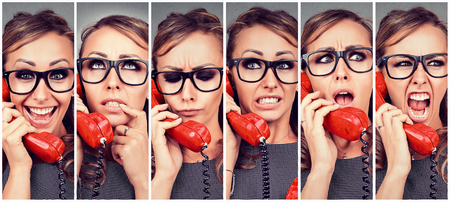 Woman changing emotions from happy to angry while answering the phone